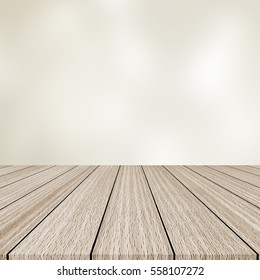 modern cream brown wood panel tabletop with blurred light tan color background for promote and show or advertise product