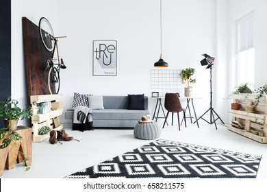 Modern creative room decorated with wooden accessories
