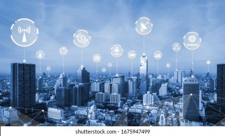 Modern creative telecommunication and internet network connect in smart city. Concept of 5G wireless digital connection and internet of things future.