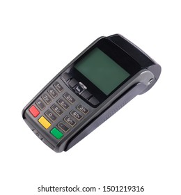 Modern credit card terminal with nfc isolated on a white background