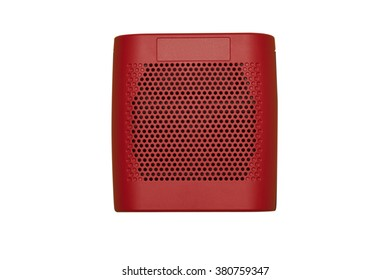 Modern Cube Speaker in Red Shade isolated on white