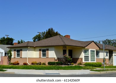 Modern custom made houses with nicely landscaped front yard in the Artesia City, CA.