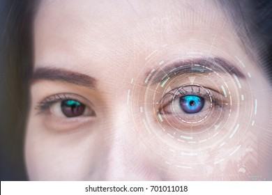 Modern cyber girl with technolgy concept, smart contact lens display, Iris verification, wearable computing, abstract image visual