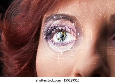 Modern cyber girl with technolgy eye looking