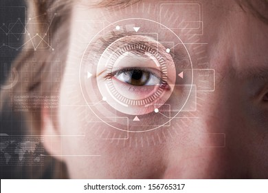 Modern cyber man with technolgy eye looking