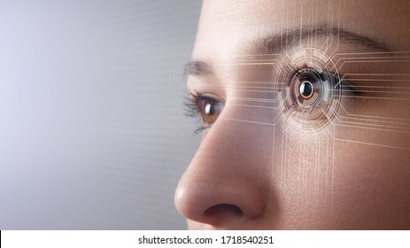 Modern cyber woman with technolgy eye looking. The young woman 's eye is close-up. The concept of the new technology is iris recognition.