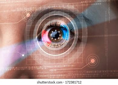 Modern cyber woman with technolgy eye looking