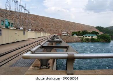 The modern dam with a river background. West Africa. Ghana. Akosombo