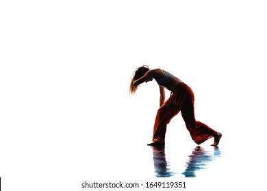 Modern dance artist practicing a choreographic dance routine