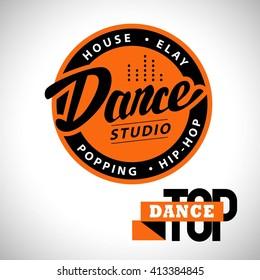 Modern dance studio logo isolated. Dance club, dance floor icon, label, brand mark. Dance school insignia.