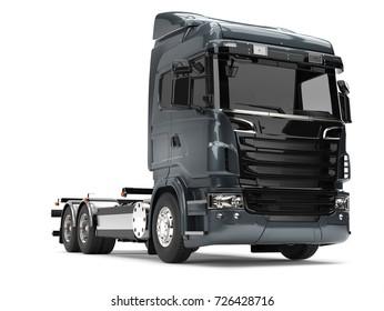 Modern dark gray blue heavy transport truck without a trailer - 3D Illustration