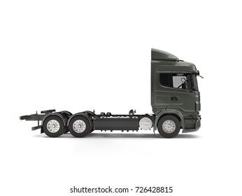 Modern dark gray heavy transport truck without a trailer - 3D Illustration