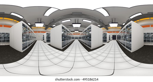 Modern Data Center Server Room VR360 3D Illustration