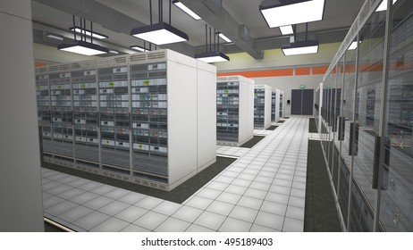 Modern Data Center Server Room 3D Illustration