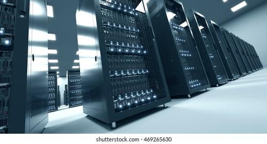 Modern datacenter. Cloud computing in modern interior. Blade server and storage. 3d rendering