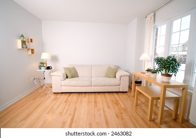 modern day living room with beige couch