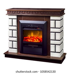 modern decorative electric fireplace with a beautiful burning flame, isolated photo on a white background