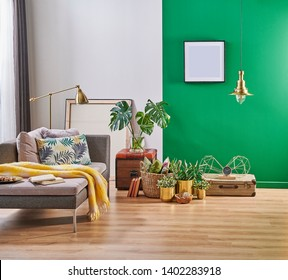 Modern decorative room interior for carpet design, green and white wall and home object.
