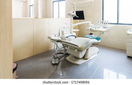 Modern dentistry office interior with tools and chair.