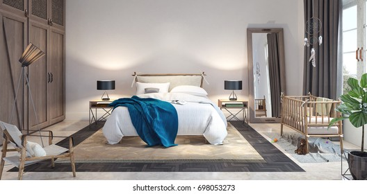 Modern Design Of Bedroom 3D Rendering, 3D Illustration