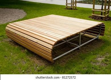 Modern design bench in green zone
