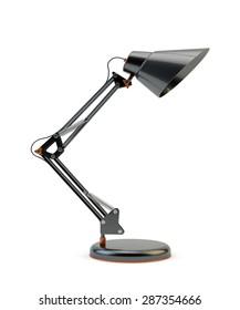 Modern design black office desk lamp isolated on white background