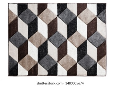 Modern design carpet figured in 3D like cubes pattern. Extracted with clipping path.