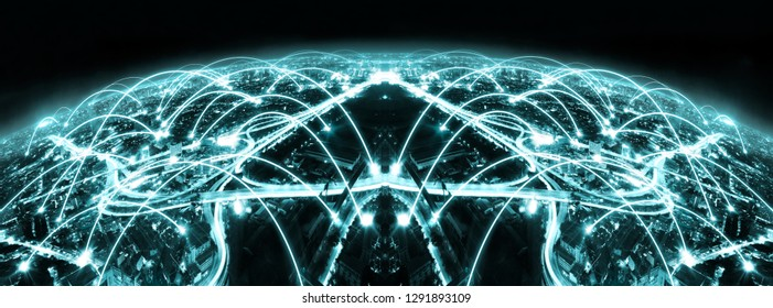 Modern design of city and network concept.Internet and communication abstract background.Skyline and virtual link