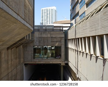 Modern design concrete buildings in the town real estate architecture abastract