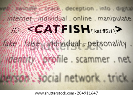 Modern design with fingerprint for catfish word, term used when someone creates a false identity at social media network chats and a fake profile to flirt and deceive people in internet