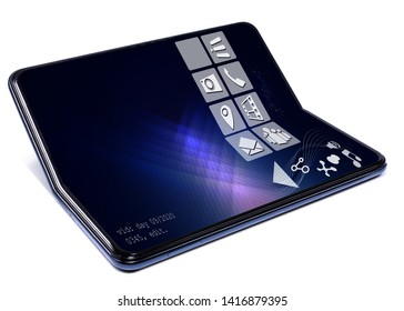 Modern design of foldable smartphone. phone and hybrid tablet. Appliance suitable for tablet technologies, foldable screen phone. Conceptual image of brandless phablet design.