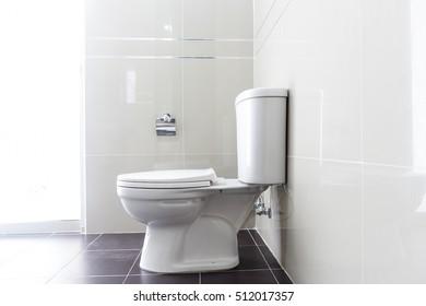 Modern design home bathroom White sanitary ware in the bathroom