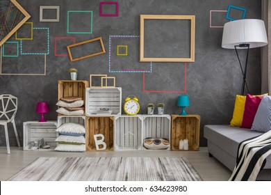 Modern design home interior with diy wall decor and regale