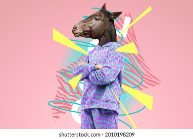 Modern design, a human body with a horse's head, prudence, confidence. Bright trendy colors, shocking art, style for a magazine, fashionable web design. copy space