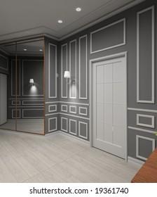 Modern design iinterior of vestibule. 3D render