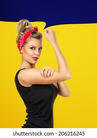 Modern design inspired by classic american poster - We can do it. Empowerment of women concept