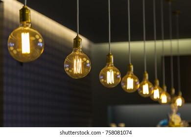 Modern Design Light Bulbs in Row inside Shop