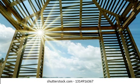 The Modern design made by wood and metal with clear blue summer sky background