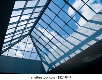 modern design office building with glass panel roof