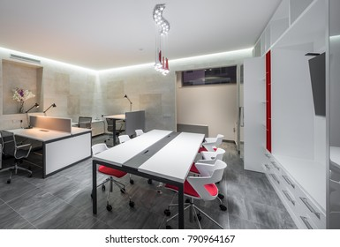 Modern design office in red and white colors.