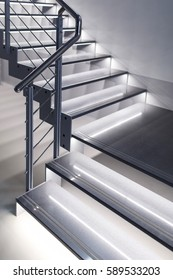 Modern design stairs with light, soft focus