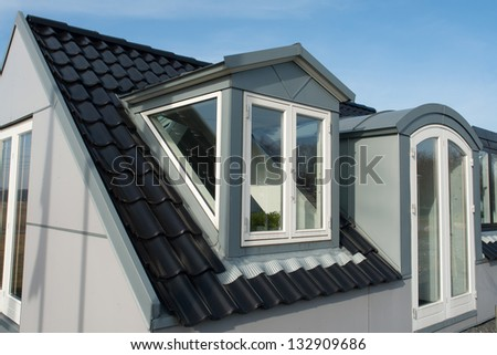 Modern design vertical roof water proof windows with black tiles
