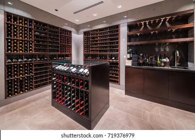 a modern design wine cellar