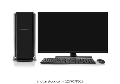 Modern desktop computer with wireless keyboard and mouse is0lated on white.
