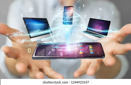 Modern devices connected to each other in businesswoman hand 3D rendering