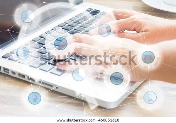 Modern devices and and wireless communication network, IoT Internet of Things and ICT Information Communication Technology concept