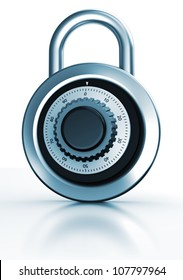 Modern dial lock with code isolated on a white background