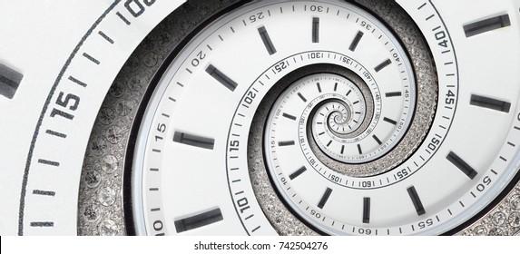 Modern diamanten witte klok horloge gedraaid tot surrealistisch spiraal. Abstracte spiraal fractale klok. Horloge klok ongewone abstracte textuur patroon achtergrond. Stijlvolle abstracte fractal spiraal klok tijd spiraal
