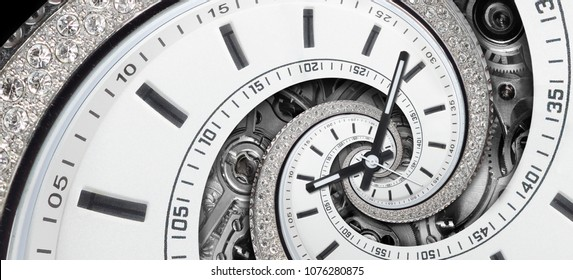 Modern diamond white stylish clock with clock hands and watch mechanism twisted to surreal spiral. Time spiral, time lapse conceptual image wide background