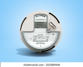 Modern digital electric meter 3d render on blue